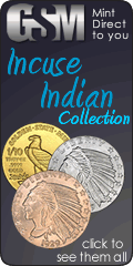 Incuse indian in gold, silver and copper